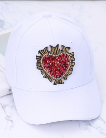Fashion White Heart Shape Decorated Baseball Cap
