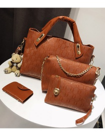 Fashion Brown Pure Color Decorated Shoulder Bag (4 Pcs )