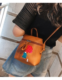 Fashion Brown Girl Pattern Decorated Shoulder Bag