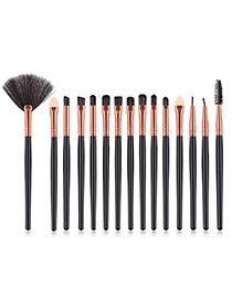 Fashion Rose Gold+black Sector Shape Decorated Makeup Brush (15 Pcs )
