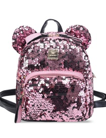 Fashion Pink Pure Color Decorated Paillette Backpack