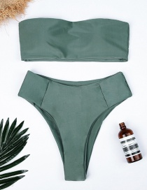 Sexy Green Pure Color Decorated Simple Swimwear(2pcs)