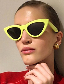 Fashion Yellow Cat Eye Shape Decorated Earrings