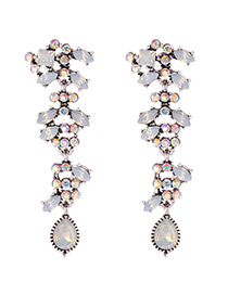 Fashion Beige Water Drop Shape Decorated Earrings