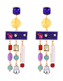 Fashion Sapphire Blue Color Matching Decorated Earrings