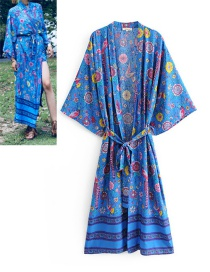 Fashion Blue Birds&flowers Pattern Decorated Kimono