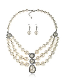 Elegant White Pearls Decorated Multi-layer Jewelry Sets