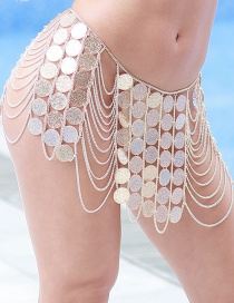 Elegant Gold Color Coins Decorated Multi-layer Body Chain