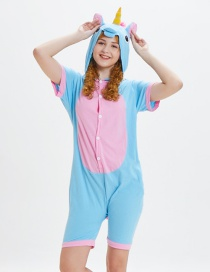 Lovely Pink+blue Horse Pattern Decorated One-piece Pajamas(for Adult)