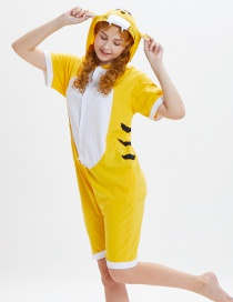 Lovely Yellow Tiger Pattern Decorated One-piece Pajamas(for Adult)