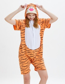 Lovely Orange Tiger Pattern Decorated One-piece Pajamas(for Child)