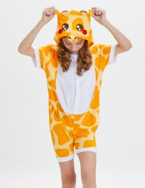 Lovely Yellow+white Giraffe Pattern Decorated One-piece Pajamas(for Child)