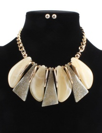 Fashion Yellow Irregular Shape Design Simple Necklace(not Set)