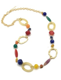 Fashion Multi-color Circular Ring Decorated Long Necklace