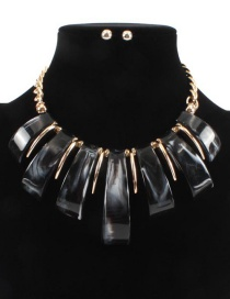 Fashion Black Pure Color Design Irregular Shape Necklace(not Set)
