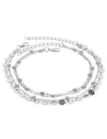 Fashion Silver Color Sequins Decorated Multi-layer Anklet