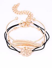 Fashion Gold Color Leaf&flower Decorated Bracelet(3pcs)