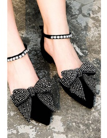 Fashion Black Full Diamond Design Bowknot Shape Shoes Accessories(1pc)