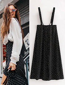 Fashion Black Dots Pattern Decorated Suspender Dress