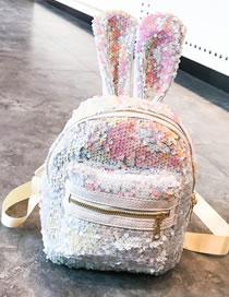 Fashion White+pink Cartoon Rabbit Shape Design Leisure Travel Bag