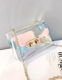 Fashion Multi-color Square Shape Buckle Decorated Shoulder Bag
