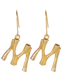 Fashion Gold Color Letter M Decorated Pure Color Earrings