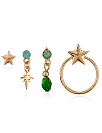 Trendy Gold Color+green Diamond&star Shape Decorated Earrings(4pcs)