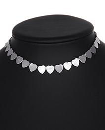 Elegant Silver Color Heart Shape Design Pure Color Choker