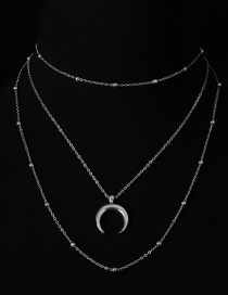 Fashion Silver Color Moon Shape Decorated Multi-layer Necklaces