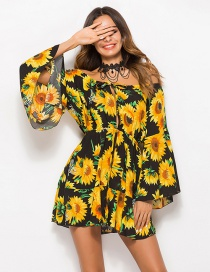 Sexy Yellow+black Flowers Pattern Decorated Off Shoulder Dress
