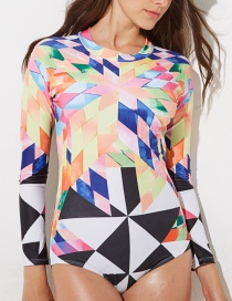 Sexy Multi-color Color Matching Design Long Sleeves Swimwear