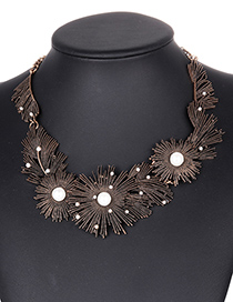 Fashion Gold Color Pearls&diamond Decorated Geometric Shape Necklace