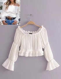 Fashion White Pure Color Design Long Sleeves Blouse