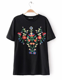 Fashion Black Embroidery Flower Decorated Simple Shirt