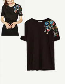 Fashion Black Embroidery Flower Design Short Sleeves Shirt