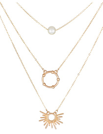Elegant Gold Color Circular Ring Decorated Pure Color Necklace