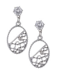 Elegant Silver Color Oval Shape Design Hollow Out Earrings