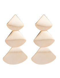 Trendy Gold Color Sector Shape Design Pure Color Earrings
