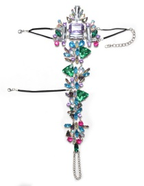 Trendy Multi-color Geomtric Shape Diamond Decorated Anklet