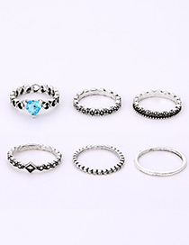 Fashion Silver Color Full Diamond Decorated Ring(6pcs)