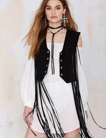 Fashion Black Tassel Decorated Pure Color Vest