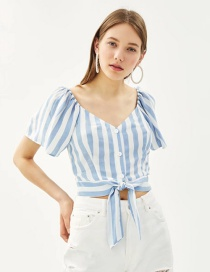Fashion Blue Stripe Pattern Decorated Blouse