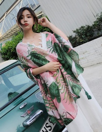 Fashion Green+pink Leaf Pattern Decorated Shawl