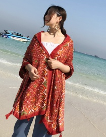 Fashion Red Grid Pattern Decorated Shawl
