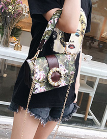 Fashion Claret Red Flower Pattern Decorated Bag
