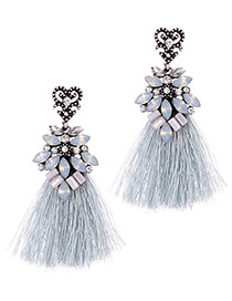 Fashion Gray Tassel Decorated Earrings