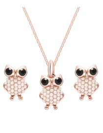 Fashion Rose Gold Owl Shape Decorated Jewelry Sets
