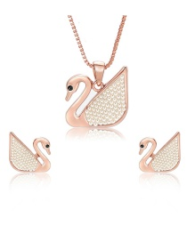 Fashion Rose Gold Swan Shape Decorated Jewelry Sets
