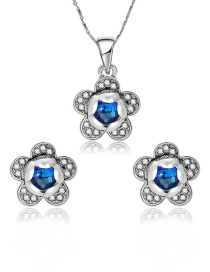 Fashion Blue Flower Shape Decorated Jewelry Sets