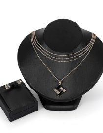 Fashion Gold Color Square Shape Decorated Jewelry Sets